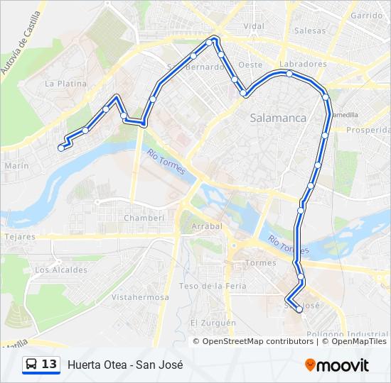 Salamanca Spanien Karte.Linie 13 Fahrpläne Haltestelle Karten Huerta Otea San José