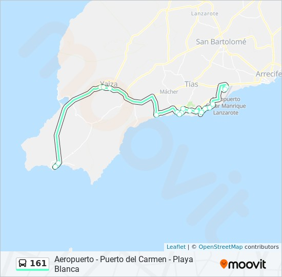 161 Route: Time Schedules, Stops & Maps - Playa Blanca (Pasa Por Uga)
