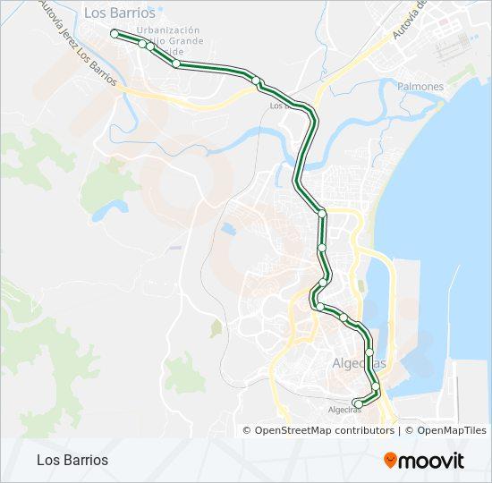 Campo De Gibraltar Mapa.M 110 Route Time Schedules Stops Maps De Algeciras A