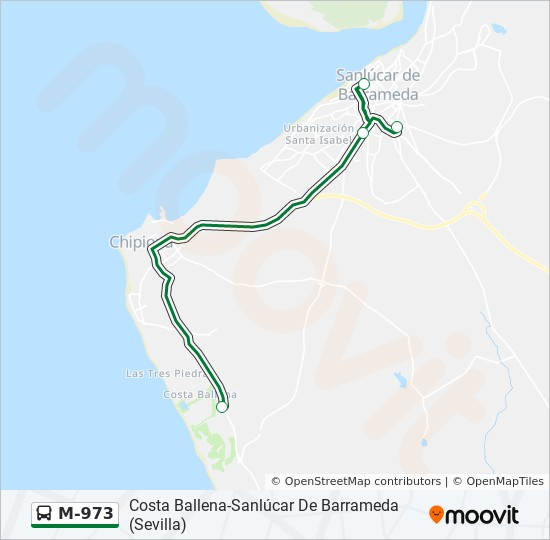 Sanlucar De Barrameda Mapa.Linea M 973 Horarios Mapas Y Paradas Sanlucar De Barrameda