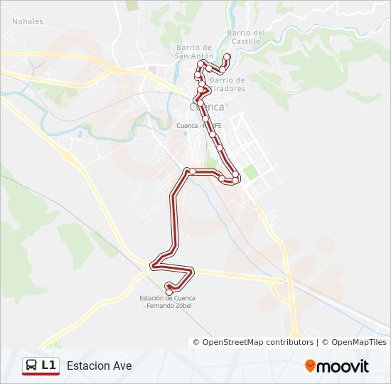 Plan de la ligne L1 de bus