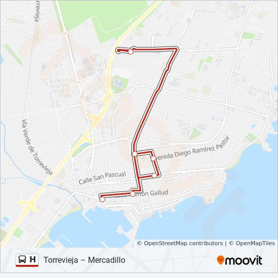 Karta Fran Alicante Till Torrevieja.H Rutt Tidsschema Stopp Kartor Torrevieja Eras De La Sal