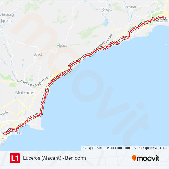 Map Of Spain Benidorm.L1 Route Time Schedules Stops Maps Benidorm