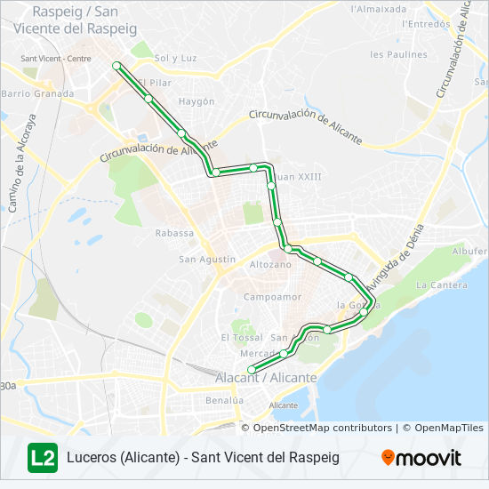L2 Route Time Schedules Stops Maps Luceros Alicante