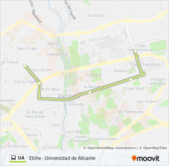 Mapa Universidad De Alicante.Linea Ua Horarios Mapas Y Paradas Universidad De Alicante