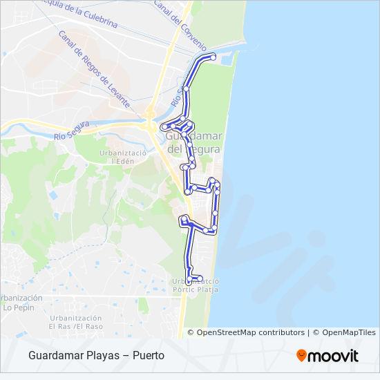 Mapa Guardamar Del Segura.Linea 1 Horarios Mapas Y Paradas Avda Del Puerto