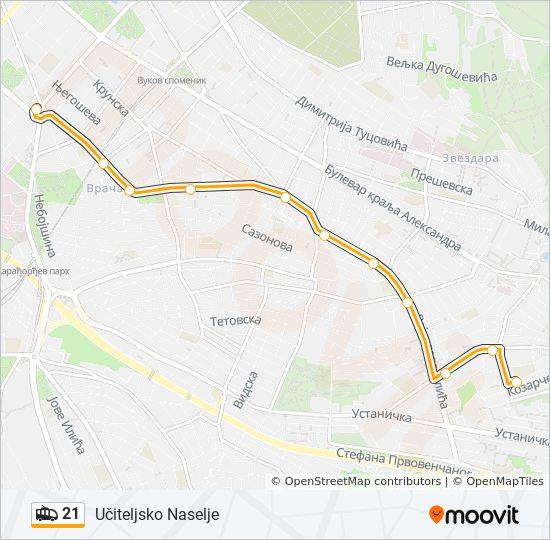 uciteljsko naselje beograd mapa Rota da linha 21: horários, mapas e estações uciteljsko naselje beograd mapa