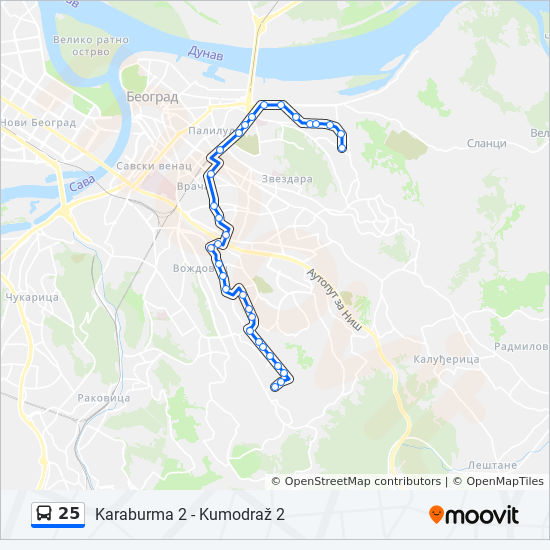 25 Route Time Schedules Stops Maps Kumodraz 2