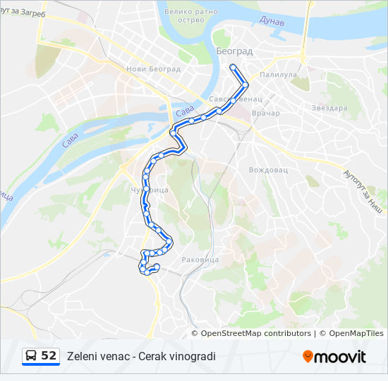 Ruta 52 Vremenski Rasporedi Stanice I Mape Cerak Vinogradi