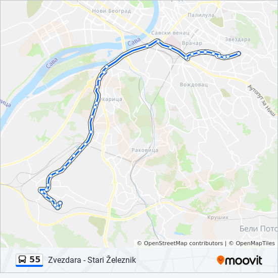 55 Route Time Schedules Stops Maps Stari Zeleznik