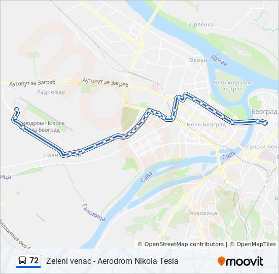 72 Route Time Schedules Stops Amp Maps Zeleni Venac