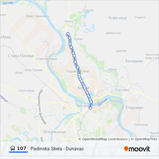 107 Route Time Schedules Stops Maps Padinska Skela