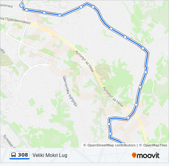sumice beograd mapa Línea 308: horarios, mapas y paradas sumice beograd mapa