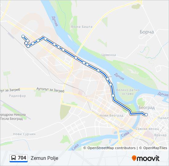 Ruta Ng 704 Iskedyul Ng Oras Hintuan Mapa Zemun Polje