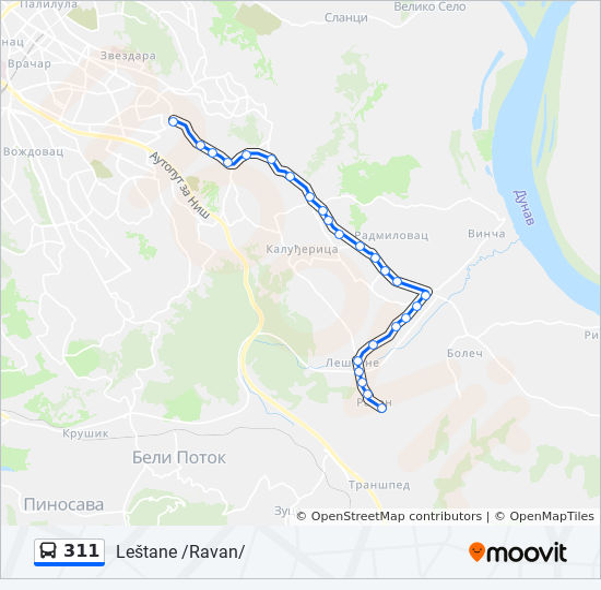 mapa beograda lestane Línea 311: horarios, mapas y paradas mapa beograda lestane