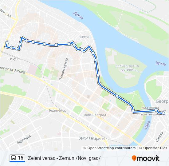 15 Trasa Redovi Voznje Stajalista I Mape Zemun Novi Grad