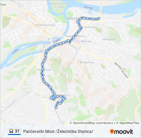 pancevacki most mapa Línea 37: horarios, mapas y paradas pancevacki most mapa