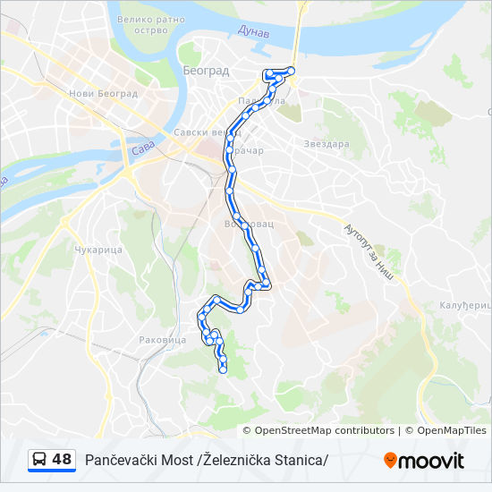 48 Route Time Schedules Stops Maps Pancevacki Most