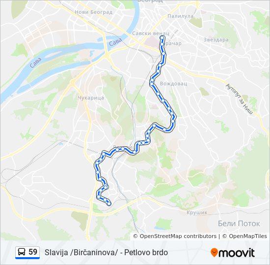 petlovo brdo beograd mapa 59 trasa: Vremena polazaka, stajališta i mape petlovo brdo beograd mapa