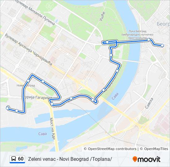 Ruta 60 Vremenski Rasporedi Stanice I Mape Novi Beograd Toplana
