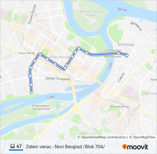zeleni venac mapa 67 trasa: Vremena polazaka, stajališta i mape zeleni venac mapa