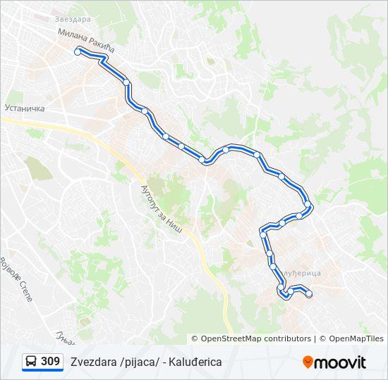 beograd kaludjerica mapa 309 trasa: Vremena polazaka, stajališta i mape beograd kaludjerica mapa