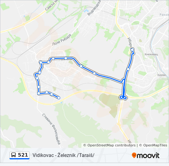 beograd zeleznik mapa Línea 521: horarios, mapas y paradas beograd zeleznik mapa