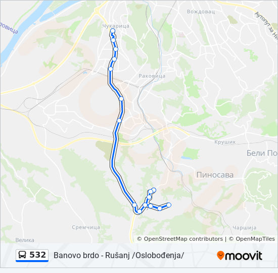 Linea 532 Horarios Mapas Y Paradas Rusanj Oslobođenja
