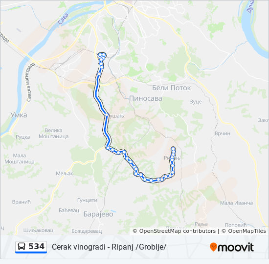ripanj mapa Línea 534: horarios, mapas y paradas ripanj mapa