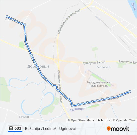 ugrinovci mapa Línea 603: horarios, mapas y paradas ugrinovci mapa