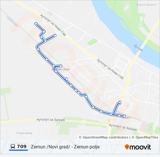 709 Trasa Redovi Voznje Stajalista I Mape Zemun Polje