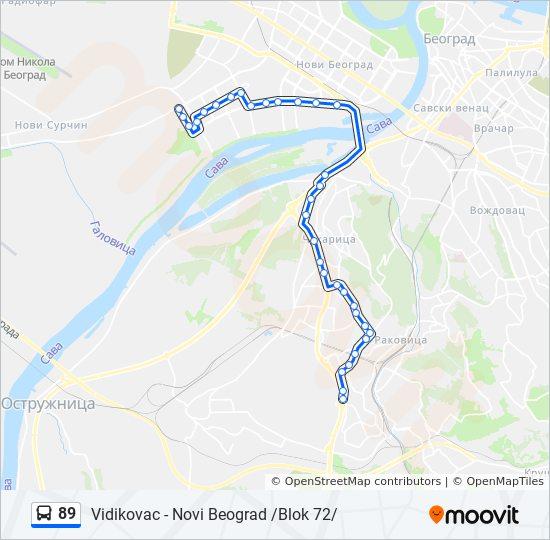 karta beograda vidikovac Ruta 89: vremenski rasporedi, stanice i mape karta beograda vidikovac