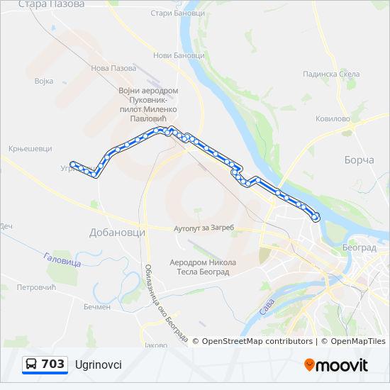 mapa beograda sa autobuskim stanicama 703 trasa: Vremena polazaka, stajališta i mape mapa beograda sa autobuskim stanicama