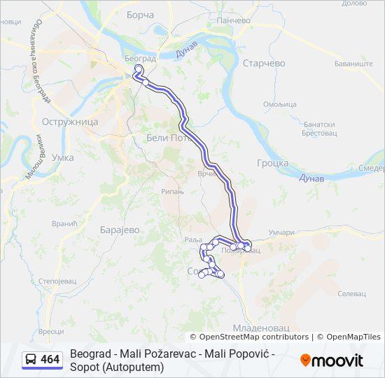 Ruta 464 Vremenski Rasporedi Stanice I Mape Beograd