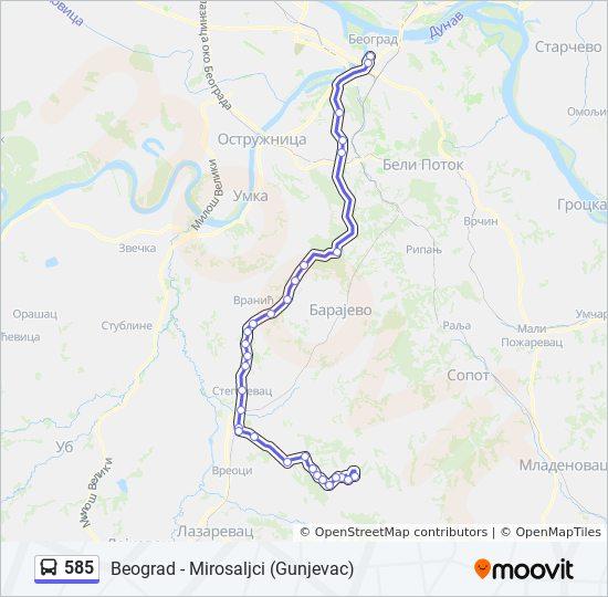 Ruta Ng 585 Iskedyul Ng Oras Hintuan Mapa Beograd