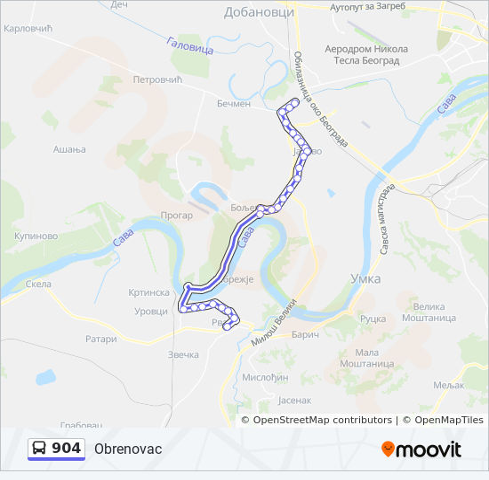 Linea 904 Horarios Mapas Y Paradas Obrenovac