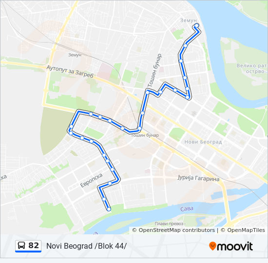 82 Route Time Schedules Stops Maps Zemun Kej Oslobođenja