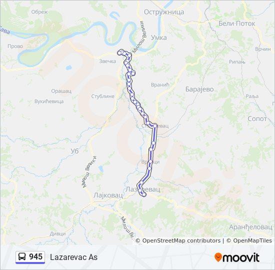 Linea 945 Horarios Mapas Y Paradas Lazarevac As