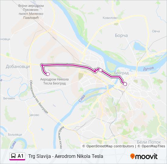 A1 Route Time Schedules Stops Maps Aerodrom Nikola Tesla