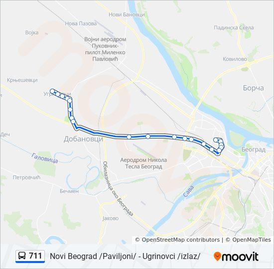 paviljoni novi beograd mapa Línea 711: horarios, mapas y paradas paviljoni novi beograd mapa