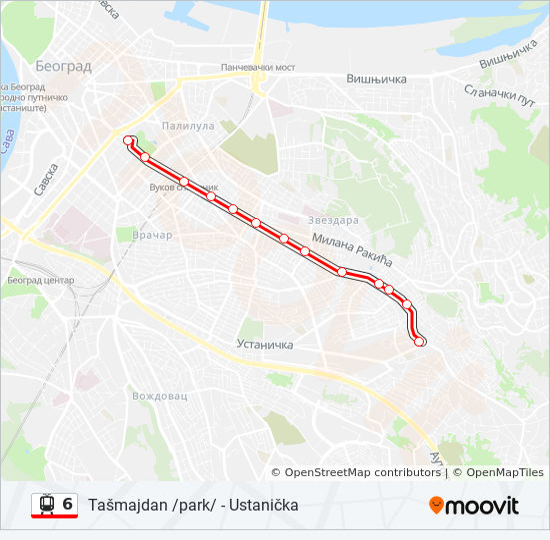 6 Trasa Redovi Voznje Stajalista I Mape Tasmajdan Park