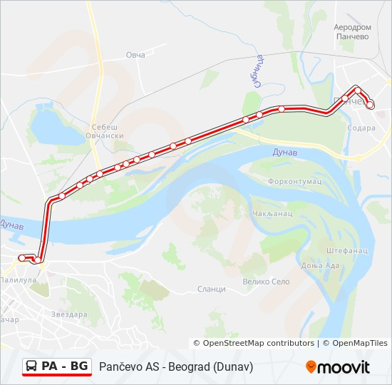 Pa Bg Trasa Redovi Voznje Stajalista I Mape Beograd Dunav