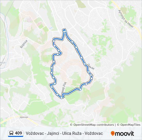 mapa beograda vozdovac ulice 409 trasa: Vremena polazaka, stajališta i mape mapa beograda vozdovac ulice