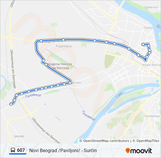 Ruta Ng 607 Iskedyul Ng Oras Hintuan Mapa Novi Beograd