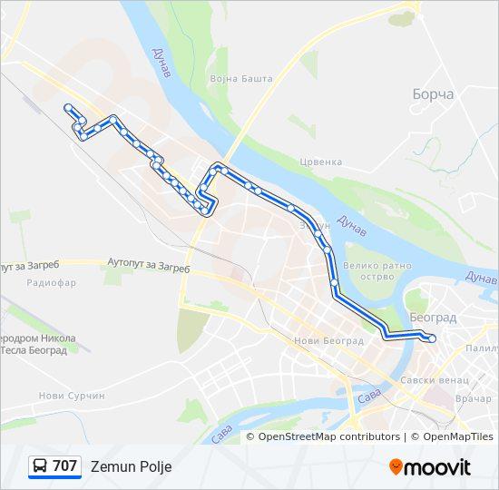 Linea 707 Horarios Mapas Y Paradas Zemun Polje
