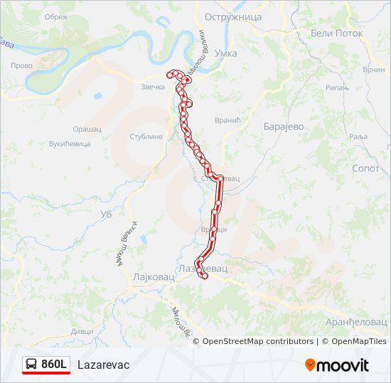 860l Trasa Redovi Voznje Stajalista I Mape Lazarevac