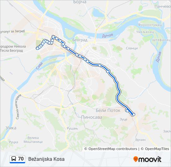 bežanijska kosa mapa Línea 70: horarios, mapas y paradas bežanijska kosa mapa
