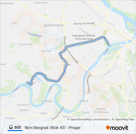 Linea 605 Horarios Mapas Y Paradas Novi Beograd Blok 45