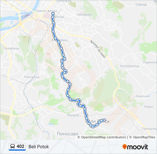 beli potok beograd mapa 402 trasa: Vremena polazaka, stajališta i mape beli potok beograd mapa