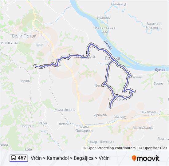 Rota Da Linha 467 Horarios Estacoes E Mapas Vrcin Kamendol